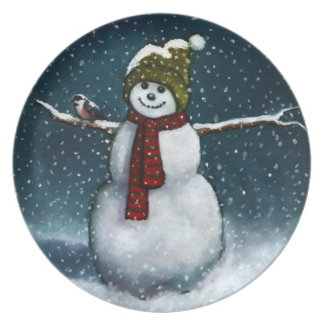 Smiling Snowman in Snow: Chickadee: Pastel Art Melamine Plate