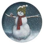 Smiling Snowman in Snow: Chickadee: Pastel Art Dinner Plate