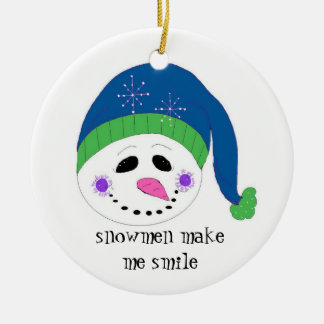 Smiling Snowman Double-Sided Ceramic Round Christmas Ornament
