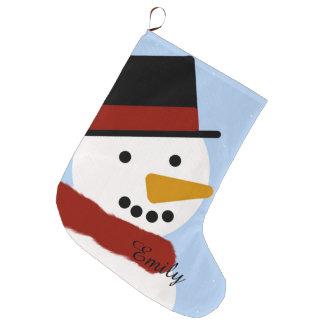 Smiling Snowman Stocking Large Christmas Stocking