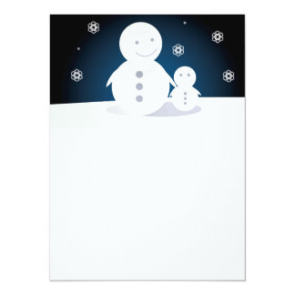 """Smiling Snowpeople 5.5"""" X 7.5"""" Invitation Card"""
