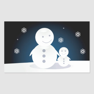 Smiling Snowpeople Rectangular Sticker