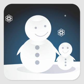 Smiling Snowpeople Square Sticker
