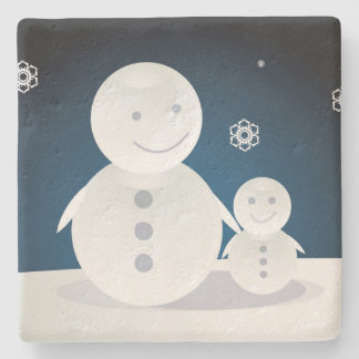 Smiling Snowpeople Stone Coaster