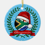 Smiling South African Flag Christmas Style Double-Sided Ceramic Round Christmas Ornament
