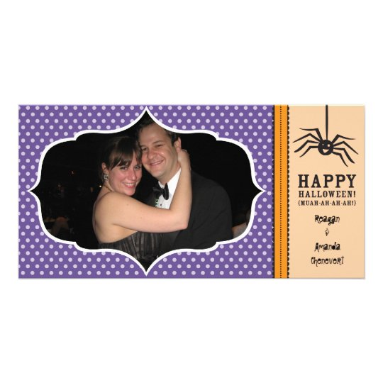 """""""Smiling Spider"""" Happy Halloween Photo card"""