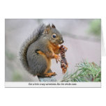 Smiling Squirrel Eating Pine Cone Card