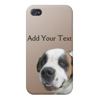 Smiling St. Bernard on Brown iPhone 4 Case