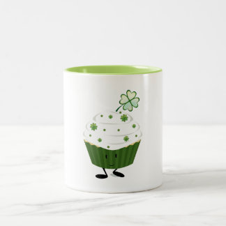 Smiling St. Patrick's day cupcake Two-Tone Coffee Mug