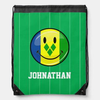 Smiling St. Vincent and Grenadines Flag Drawstring Backpack