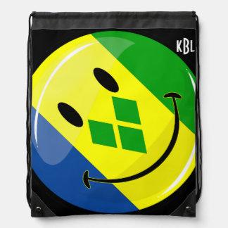 Smiling St. Vincent and Grenadines Flag Drawstring Bag