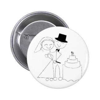 Smiling Stick Figure Couple Cuts the Wedding Cake Pinback Button
