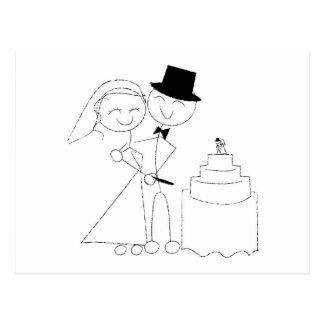 Smiling Stick Figure Couple Cuts the Wedding Cake Postcard