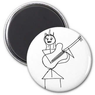 Smiling Stick Figure Girl holding bass / guitar 2 Inch Round Magnet