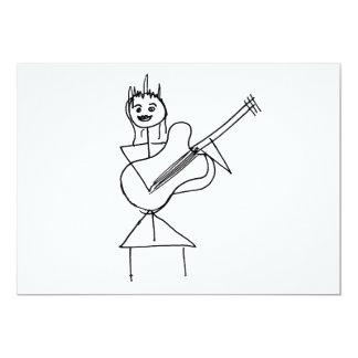 Smiling Stick Figure Girl holding bass / guitar Card