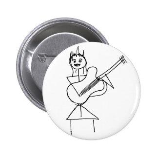 Smiling Stick Figure Girl holding bass / guitar Pinback Button