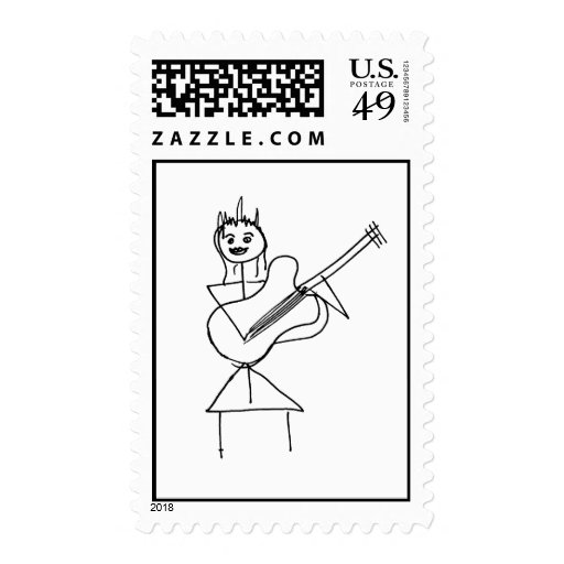 Smiling Stick Figure Girl holding bass / guitar Stamp