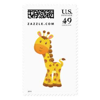 Smiling Stylized Cartoon Giraffe Stamp
