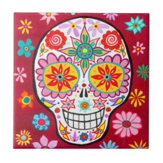 Smiling Sugar Skull Ceramic Tile