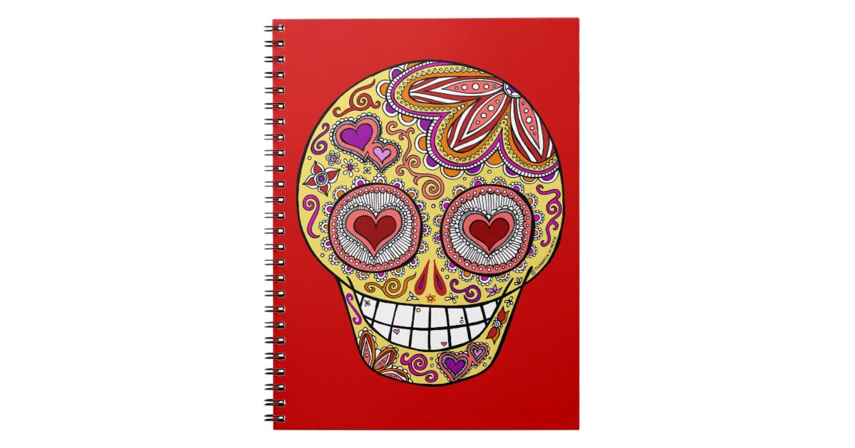 Smiling Sugar Skull Heart Eyes Journal Notebook Zazzle Com