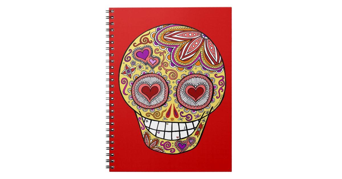 smiling sugar skull heart eyes journal    notebook