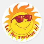Smiling Summer Sun Classic Round Sticker