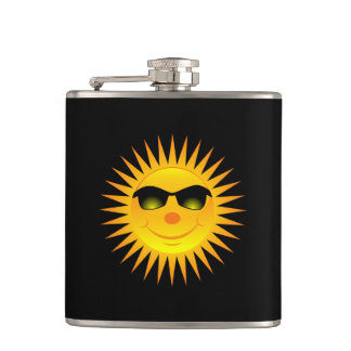 Smiling Summer Sun Hip Flask