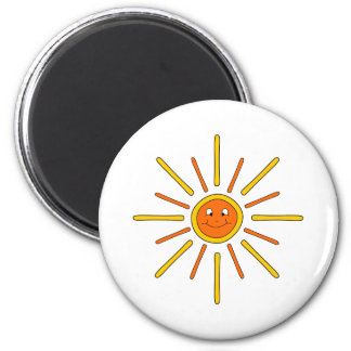 Smiling Summer Sun. Yellow and Orange. 2 Inch Round Magnet