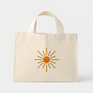 Smiling Summer Sun. Yellow and Orange. Canvas Bags