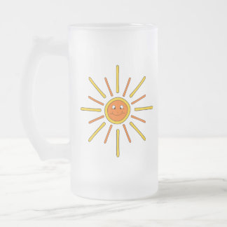 Smiling Summer Sun. Yellow and Orange. Frosted Glass Beer Mug