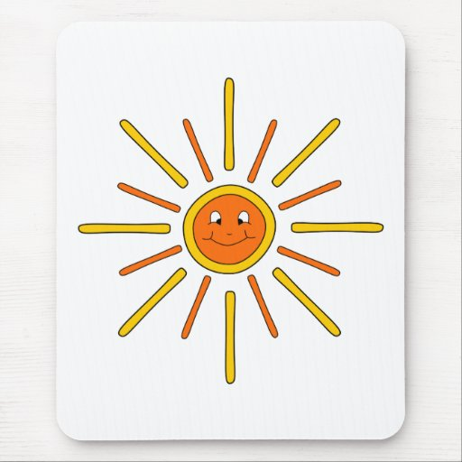 Smiling Summer Sun. Yellow and Orange. Mouse Pad