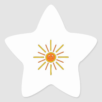 Smiling Summer Sun. Yellow and Orange. Stickers