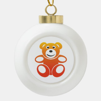 Smiling Summer Teddy Ceramic Ball Christmas Ornament