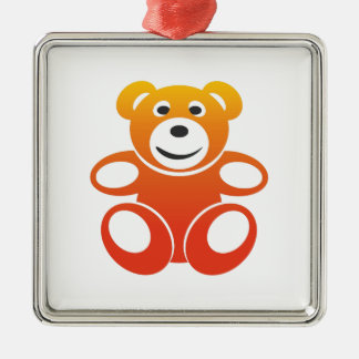 Smiling Summer Teddy Metal Ornament