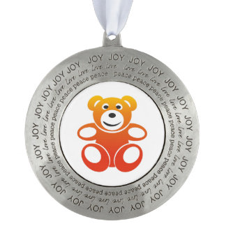 Smiling Summer Teddy Pewter Ornament