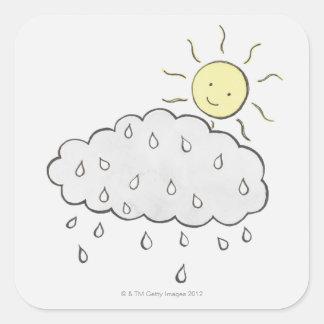 Smiling Sun 2 Square Sticker