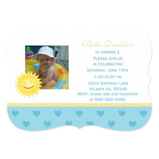 Smiling Sun And Blue Heart Party Invitation