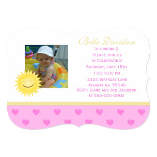 Smiling Sun And Pink Heart Party Invitation