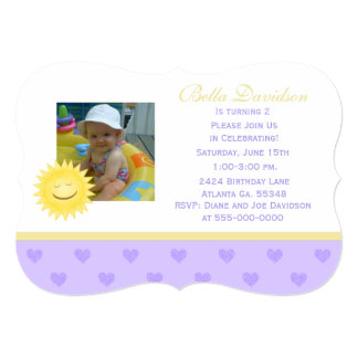 Smiling Sun And Purple Heart Party Invitation