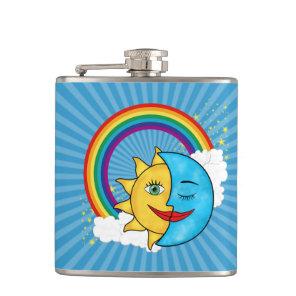 Smiling Sun Blue Moon clouds rainbow stars Flask