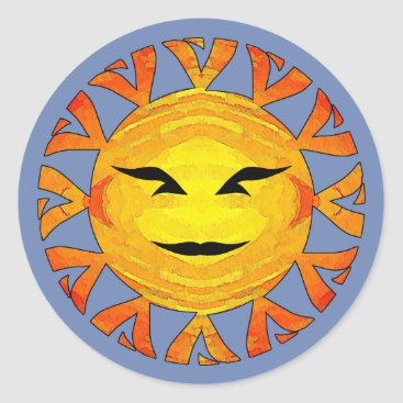 Aztec Themed Smiling Sun Classic Round Sticker