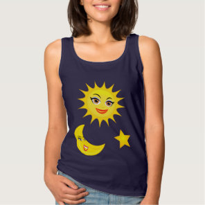 Smiling Sun Crescent Moon Gold Star Tank Top