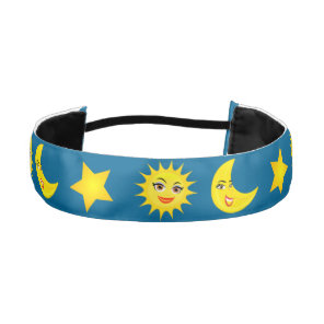Smiling Sun Crescent Moon Shining Star Athletic Headband
