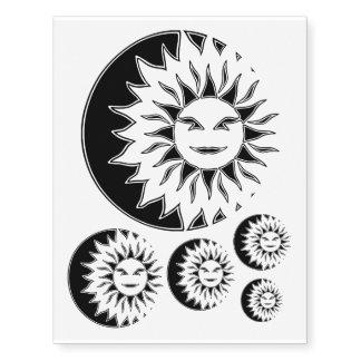 Smiling Sun Eclipse Black Temporary Tattoos