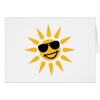 Smiling sun face sunglasses card