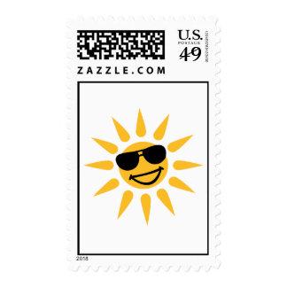 Smiling sun face sunglasses postage