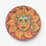 Smiling Sun, Fairytale Fantasy Art, Orange Yellow Paper Plate