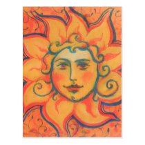 Smiling Sun, Fairytale Fantasy Art, Orange Yellow Postcard