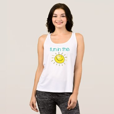 Beach Themed Smiling Sun Fun In The Sun Summer Tank Top