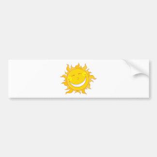 Smiling Sun Mascot Cartoon Character Bumper Sticker